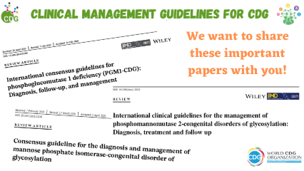 Research papers featuring clinical management guidelines for PMM2-CDG, MPI-CDG and PGM1-CDG